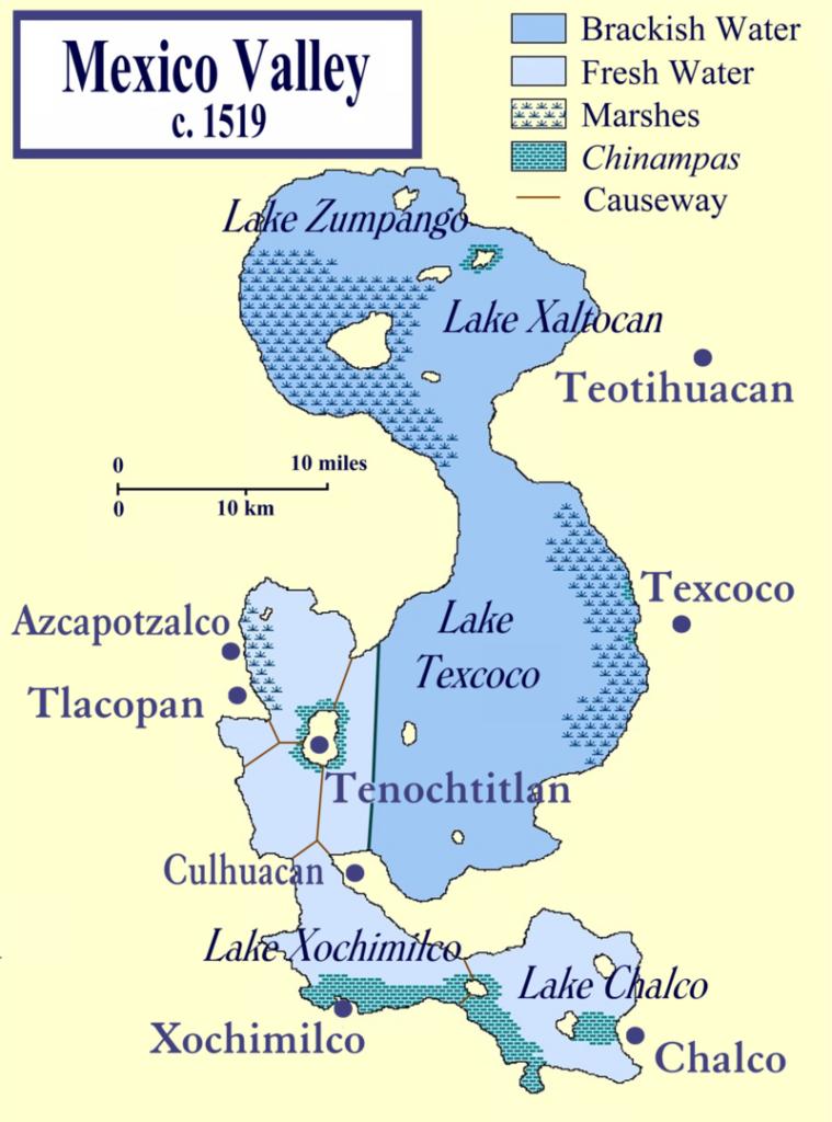 Lac Texcoco à l'arrivée des colons